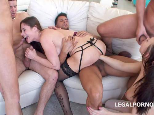 Gangbang throat fuck and fisting with two girls