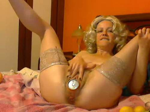 Webcam blonde fanta tin and wine bottle gaping ass fuck