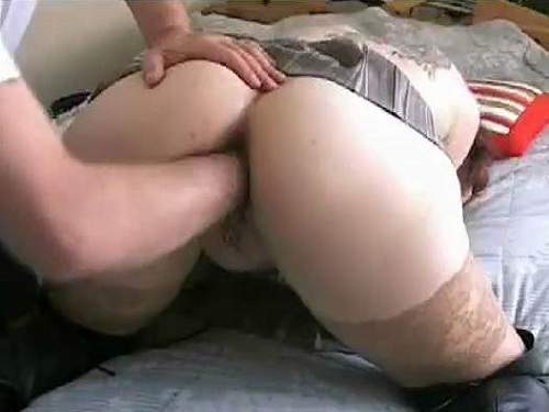 Sexy busty mature vaginal fisting in doggy pose homemade