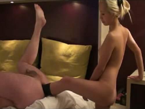 Stunning man deep anal foot penetration