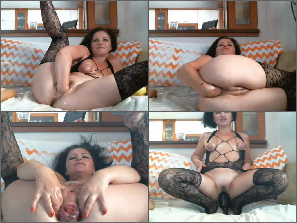 Dirty mom gets fisted and wine bottle riding on prolapse ...
