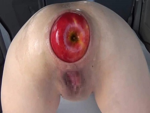 Shocking sized apple fully in huge gaping anal asian girl