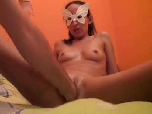 Russian amateur fisting skinny masked girl