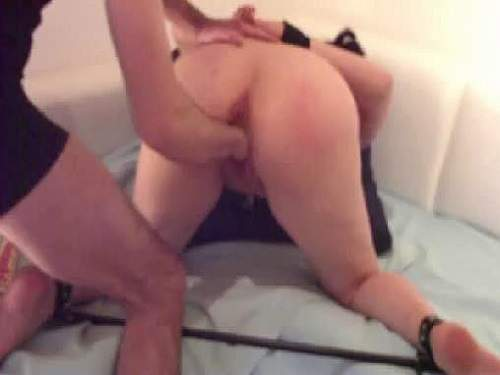 Homemade bondage and fisting sex with booty wife