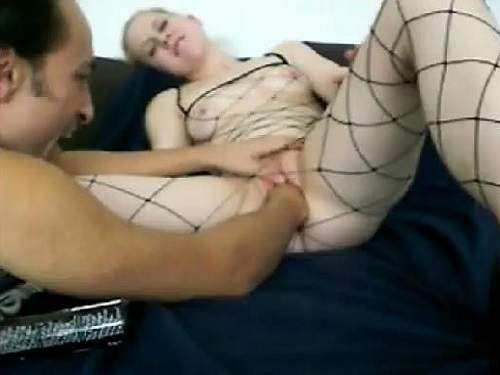 Hardcore fisting sex with depraved busty blonde wife