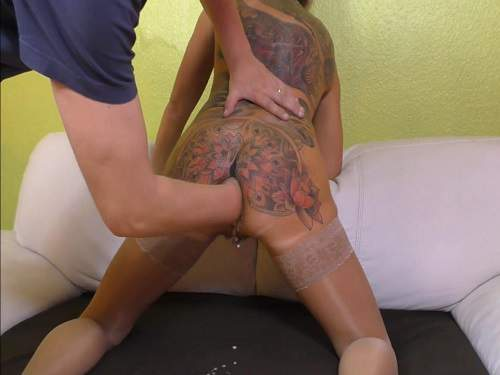 Tattooed milf gets fisted anal and rosebutt loose