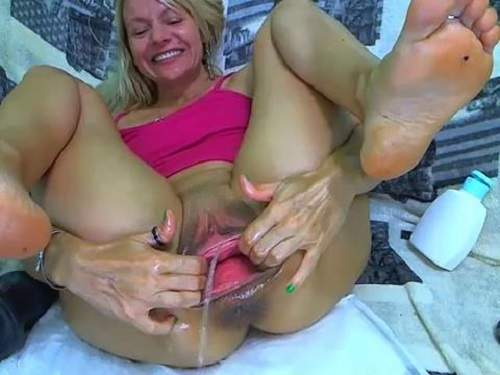 Russian milf double vaginal fisting and huge dildo fuck