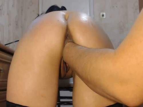amateur fisting,russian couple,hot fisting video,girl gets fisted,deep fisting porn,dildo fuck in pussy,dildo fully in cunt,big ass girl,homemade porn
