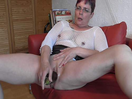 German granny gets fisted and eggplant in pussy