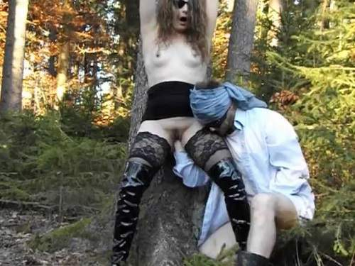 Outdoor deep fisting bondage skinny wife
