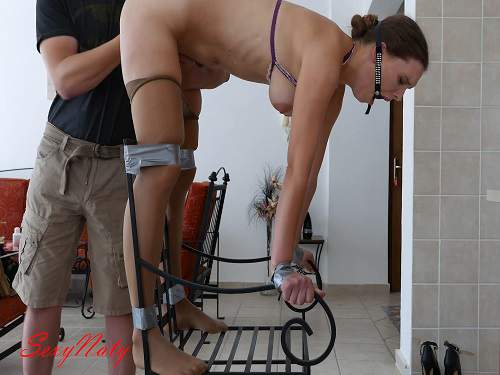 Bondage girl with gag hot gets fisted vaginal