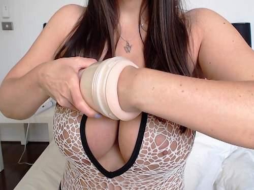 Busty goddess hard fisted rubber masturbator