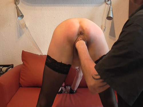 Booty german handcuffed mature gets fisted in doggy pose