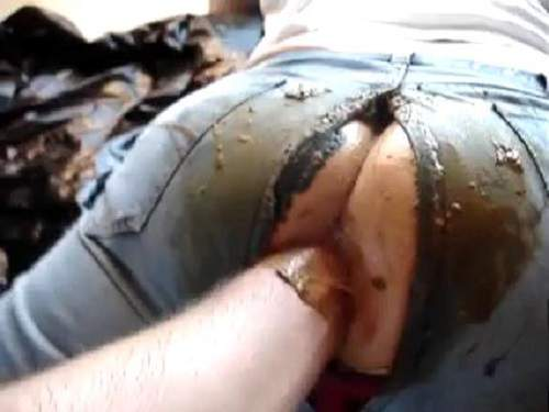 Wife with torn jeans gets scat fisting hardcore