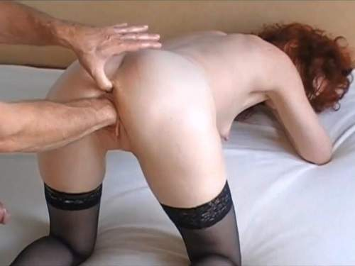 Curly redhead german wife gets vaginal fisted and blowjob new 2017