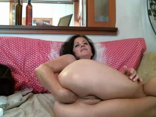 KinkyVivian solo vaginal fisting and big dildos rides