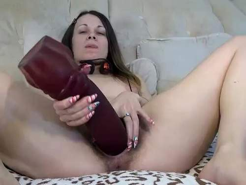Ukrainian brunette colossal dildo insertion in hairy cunt