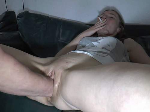 Hot smoking girl gets fisted in amazing poses homemade