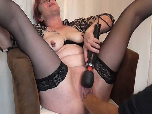 Amateur busty granny with piercing nipples hardcore gets fisted