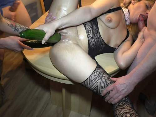 German blonde gets double cucumber in wet pussy homemade