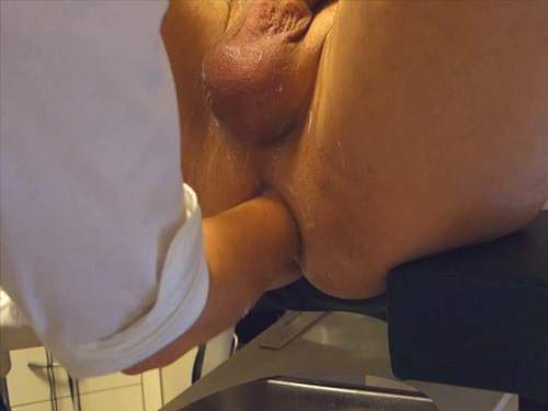 Water enema and hard deep female fisting domination