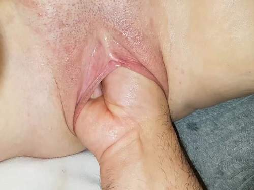 Rare amateur POV fisting sex with old wife