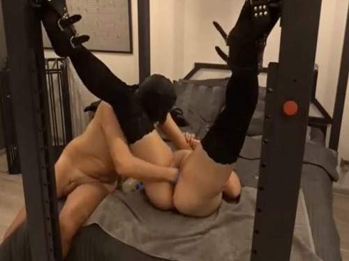Bondage wife gets fisted from masked husband homemade
