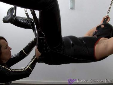 Fisting domination - Kinky rubber wife penetration hand deep in asshole her masked husband