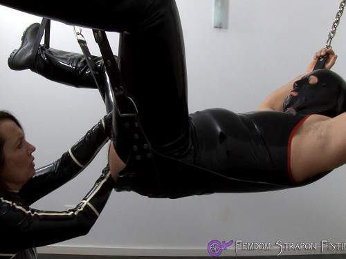 Fisting domination – Kinky rubber wife penetration hand deep in asshole her masked husband