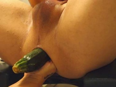 Female domination - Amateur femdom vegetable and fist anal in husbands ass in one moment