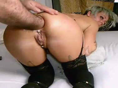 Fisting sex - Tattooed booty girl gets anal fisting and butplug in doggy style pose homemade