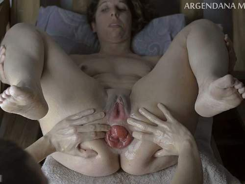 Anal stretching – Dirty MILF stretched her giant anal prolapse after deep DP fisting