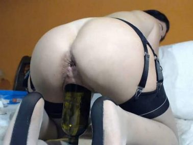 Closeup - Queenvivian wine bottle and dildo sex vaginal webcam show