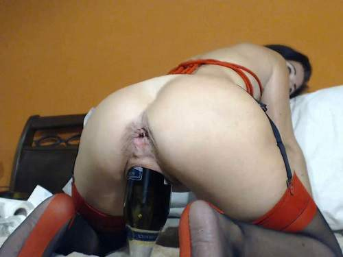 Pussypump – Giant champagne bottle in pussy and self dildo sex with kinkyvivian