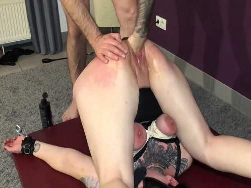 Rope bondage – Busty bondage wife gets spanking and fisted from husband