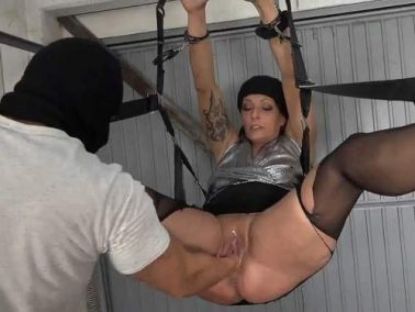 Close up - Masked male vaginal fisting maledom to bondage booty girl