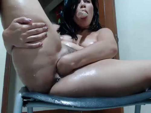 Hairy pussy – Latin hairy girl dildo riding and self fisted wet pussy