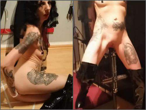 Cosplay – Amateur german satanist brunette bedpost riding and fisting herself