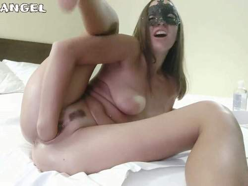 Gaping pussy – Masked whore Fallen Angel self vaginal fisting sex