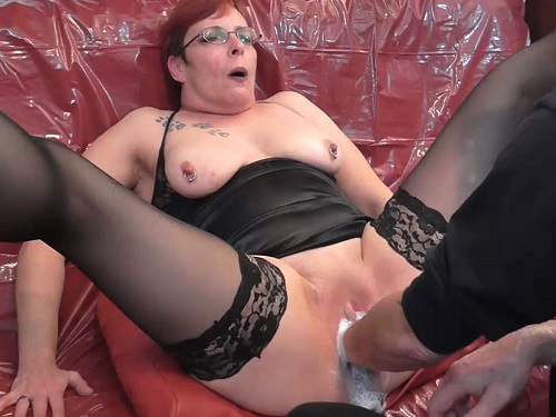 Deep fisting – Redhead german granny with piercing nipples gets fisted vaginal