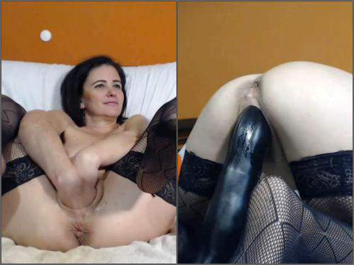 Pussy insertion – Webcam big ass MILF kinkyvivian try fisting and big toys penetration herself