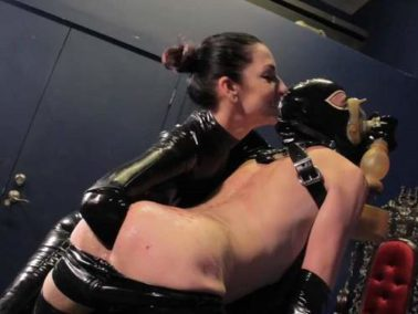 Elbow fisting - Rubber mistress bloody spanking and deep elbow fisting domination to slave male