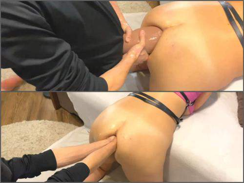 Deep fisting – Busty wife fisting DAP and strapon domination husband to wife