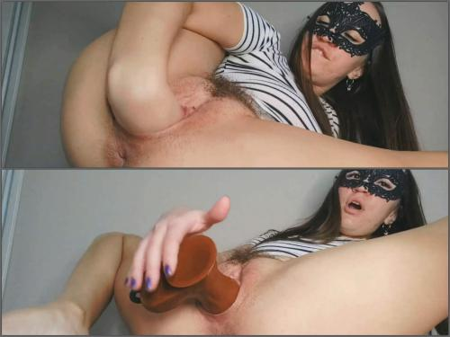 Dildo penetration – Hot hairy masked girl Honey Anastazzzi dildo and fisted vaginal