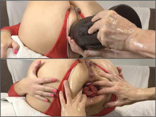 Prolapse porn – Amateur piercing labia booty wife gets giant dildo and double fisted anal
