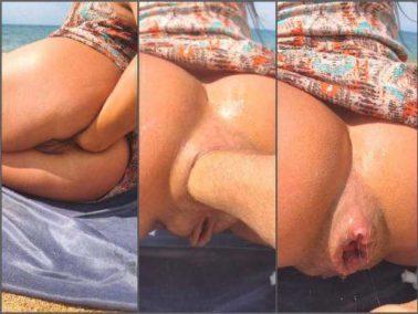 Closeup - Alisiya Rainbow beach anal fisting and dildo sex on the beach
