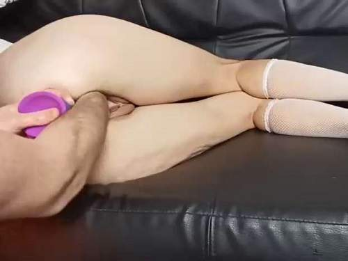 Anal insertion – Amateur wife gets DP with rainbow dildo and fisting to gaping pussy