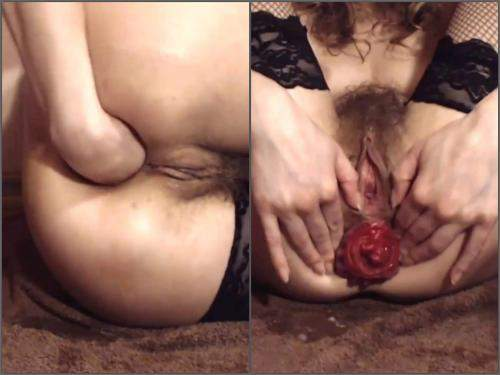Amateur fisting – Perverted russian hairy girl Natusamare pussy and anal prolapse ruined