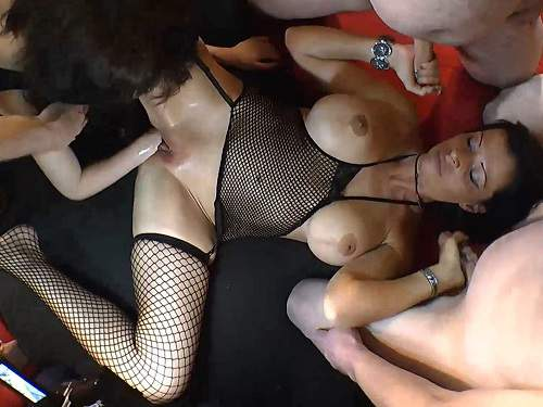 Fisting sex – German busty brunette gets fisted and blowjob gangbang