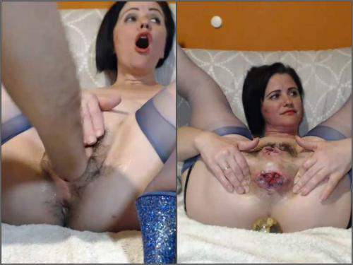 Bottle insertion – Queenvivian wine bottle and BBC dildo rides after brutal fisting sex